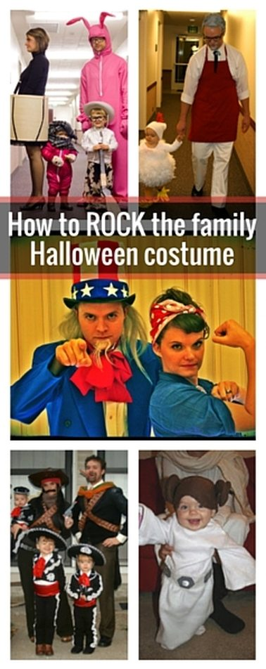 How to ROCK the family halloween costume with minimal effort, cost and awkwardness. Lots of great costume ideas and pictures in this post. #familyhalloweencostume